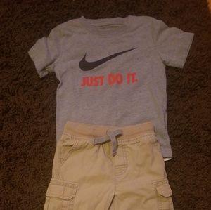 Nwot, gray Nike shirt with cargo chacki pants